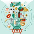 Food Icons Basket Royalty Free Stock Images - 46131029