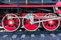 Closeup View Of Steam Locomotive Wheels, Drives, Rods, Links And Stock Photos - 46131093