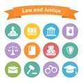 Set Of Flat Law And Justice Icons Stock Photography - 46142822