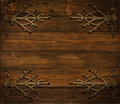 Christmas Wooden Background Decorated By Grunge Metal Ornament Stock Images - 46148454