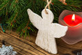 Christmas Tree Branches With Angel On A Wooden Board Stock Photo - 46157730