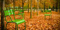 Green Chairs On Autumn Falling Leaves Royalty Free Stock Image - 46164196