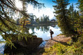 The Hiker Man At  The Beautiful  Lago Di Federa See Early  Morning Stock Images - 46167984