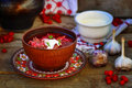 Borsch, Traditional Ukrainian Beet And Sour Cream Soup Stock Photo - 46171700