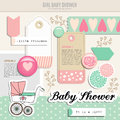 Cute Set Of Baby Shower Scrapbooking Elements,  Royalty Free Stock Image - 46178736