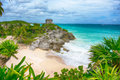 Beautiful Empty Caribbean Beach In Tulum Stock Image - 46188881