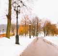 First Snow In Autumn Park Royalty Free Stock Images - 46193229