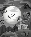 Black And White Haunted House Stock Photos - 46195803