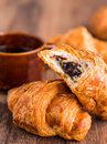 Bite Chocolate Croissant With A Cup Of Coffee, French Baking Stock Photos - 46207493