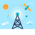 Vector Antenna Tower And Satellite Royalty Free Stock Image - 46209806