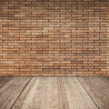 Red Brick Wall And Wooden Floor, Empty Interior Royalty Free Stock Photos - 46212038