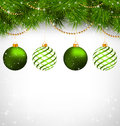 Christmas Balls On Pine Branches With Chains On Grayscale Royalty Free Stock Photos - 46215288