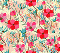 Vintage Seamless Pattern With Abstract Flowers Floral Background Stock Images - 46220884
