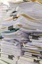 Pile Of Documents On Desk Stack Up High Waiting To Be Managed Stock Photos - 46223663