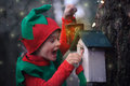 Boy In Elf Costume Looking In Astonishment At A Birdhouse Stock Photo - 46224970
