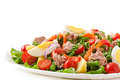 Salad With Tuna, Tomatoes, Potato And Onion Royalty Free Stock Photos - 46228018
