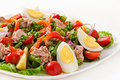 Salad With Tuna, Tomatoes, Potato And Onion Royalty Free Stock Photos - 46228278