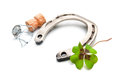 Horseshoe And Champagne Cork With A Four Leaf Clover Stock Image - 46239241