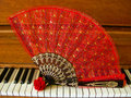 Rose Fan On Piano Stock Image - 46248181