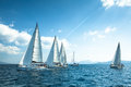 Unidentified Sailboats Participate  In Sailing Regatta Royalty Free Stock Images - 46281149