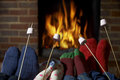 Family Toasting Marshmallows By Open Fire At Home Stock Photos - 46285163