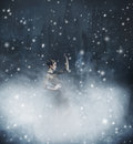 Young And Emotional Woman In Fashion Dress On A Snowy Background Stock Images - 46285264