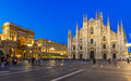 Night View Of Milan Cathedral (Duomo Di Milano), Vittorio Emanuele II Gallery And Piazza Del Duomo In Milan Stock Images - 46286204