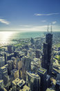 Sunrise Over Chicago Financial District- Aerial Royalty Free Stock Photo - 46289365