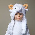 Baby With Sheep Hat New Year 2015 Stock Photo - 46296510