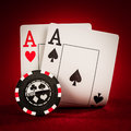Chips And Two Aces Stock Photos - 46300003