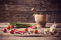 Mortar And Pestle With Pepper And Spices Royalty Free Stock Photos - 46300138