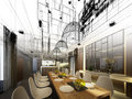 Abstract Sketch Design Of Interior Dining Stock Photo - 46305830