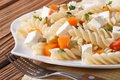 Pasta With Pumpkin, Feta And Seeds On A White Plate Stock Images - 46305894