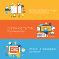 Flat Knowledge Is Power, Distance Tutor Mobile Education Concept Royalty Free Stock Photo - 46318565