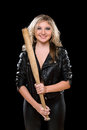 Cheerful Young Blonde With A Bat Stock Photography - 46335062