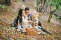 Happy Family In An Autumn Forest Royalty Free Stock Photos - 46336028