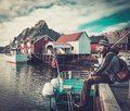 Man Traveller In Reine Village, Norway Royalty Free Stock Photography - 46336437