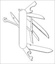 Swiss Knife Vector Line Art Royalty Free Stock Photography - 46343437