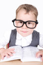 Boy With Glasses And Book Stock Photography - 46345922