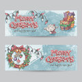 Set Of Horizontal Christmas Banners With The Image Of A Lamb, Gifts And Christmas Wreaths Stock Image - 46347081