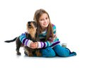 Happy Little Girl With Her ​​dachshund Royalty Free Stock Photos - 46351458