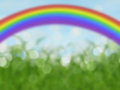 Abstract Bokeh Rainbow Background With Blue Sky And Grass Royalty Free Stock Images - 46356389