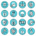 Data Protection Icons Blue Line Royalty Free Stock Image - 46376816