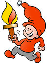 Happy Christmas Elf Running With A Torch Flame Stock Image - 46401331