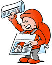 Happy Christmas Elf  With News Paper Stock Image - 46401421