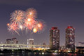 Fireworks Celebrating Over Tokyo Cityscape At Nigh Royalty Free Stock Photo - 46411215