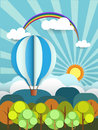 Abstract Paper With Sunshine- Rainbow-hill-cloud And Balloon Stock Photo - 46417320