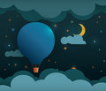 Abstract Paper-Hot Air Balloon And Moon With Stars Stock Image - 46417351
