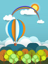 Abstract Paper With Sunshine- Rainbow-hill-cloud And Balloon Stock Photo - 46417560