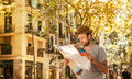 Tourist Man Looking At The City Map - Summer Holiday Traveling Stock Image - 46423221